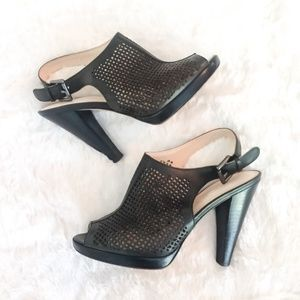 Coach Green Perforated Leather Slingbacks Size 8.5